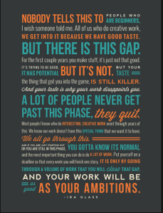 Ira Glass quote, Necessary Inspiration